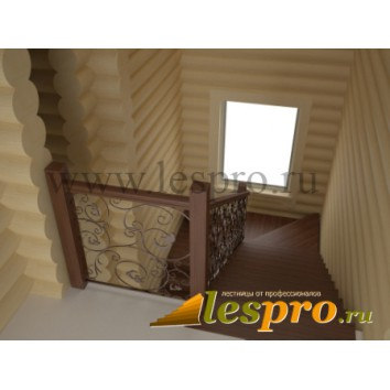 3D проект деревянной лестницы с кованным ограждением